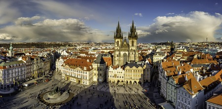 tynsky church: Prague panorama of Old Town Square taken from the top of the Old Town Hall. The view on Týnský church and Palacký statue, Zizkov tower and Vinohrady. Prague, Czech Republic, Europe