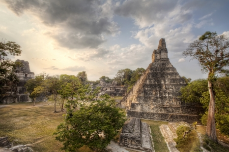 guatemala: The main temple compound at Tikal in Guatemala