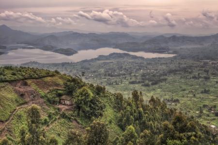 rwanda: A view over the hills of Rwanda to Lake Rohundo Stock Photo