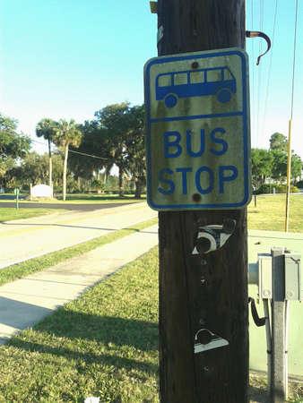 Vintage bus stop sign Tampa Florida