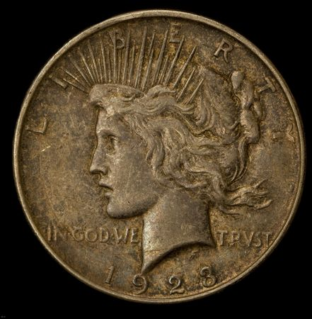 tarnished: Square crop of a 1923 liberty silver dollar tarnished banly
