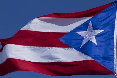 int: Puerto Rico flag flying and waving int he wind
