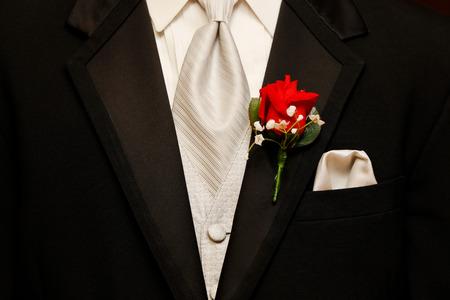Groom tuxedo at wedding Stock Photo