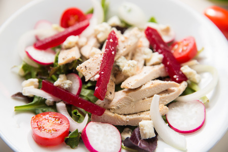 redish: beet salad with grilled chicken tomatoes and radish