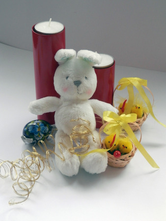 bonny: Easter Bunny and Tiny yellow fluffy easter chicken decorations