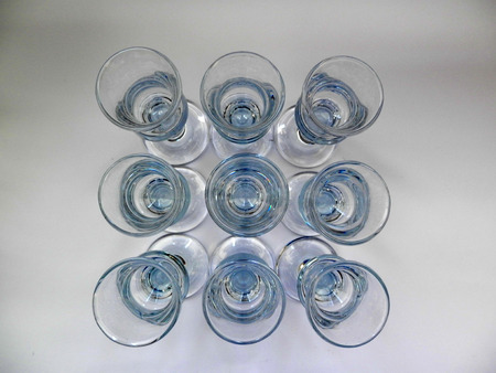 sturdy: Arrangement of nine sturdy Scandinavian Aquavit glasses