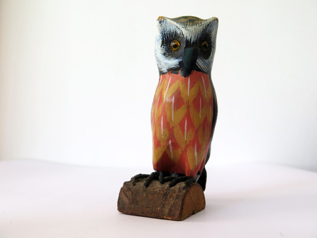 hand carved: Hand carved and painted owl on half a log