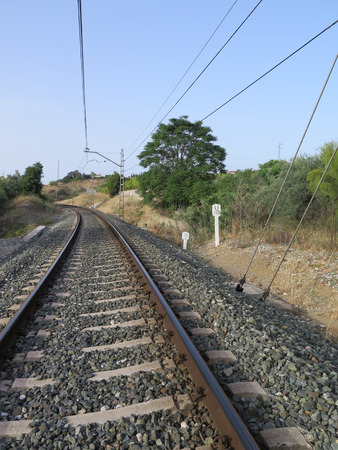 ballast: Curved Railway track in ballast on local line between Alora and Malaga, Andalucia