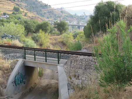 andalucia: Rail and roadbridge in rural Guadalhorce valley near Alora, Andalucia