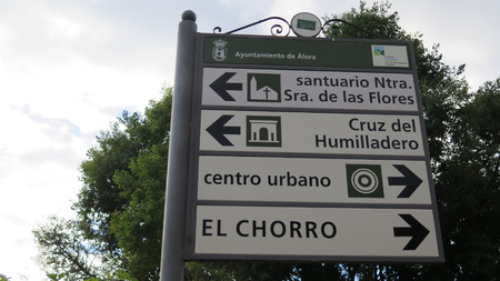 places of interest: Signpost on outskirts of Alora Andalucia pointing to places of interest