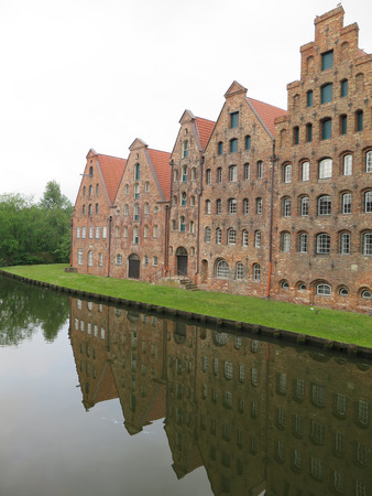 trave: The ancient buildings of the salt warehouse in the center of the hanseatic city of Lubeck, in Germany, Unesco world heritage.