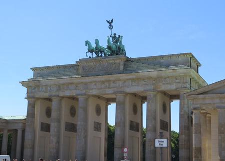 quadriga: Detail of Brandenburg Gate and the Quadriga bronze statue.