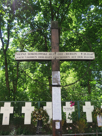 east of germany: One of many crosses to commemorate people shot while fleeing East Germany