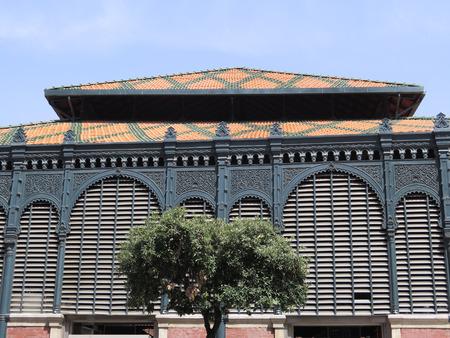 ironwork: Decorative tiled roof and ornate ironwork on Malaga Atarazana Market