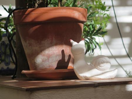 Hermaphrodite: White plaster snail with shadow on terracotta flowerpot Stock Photo