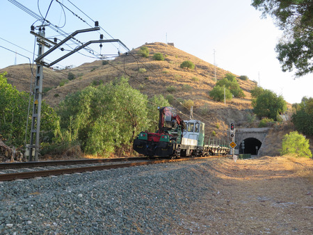 waggon: Works train with crane and waggon ooyside Alora, Andalucia