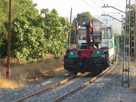 waggon: Works train with crane and waggon outside Alora, Andalucia