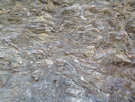 rock strata: Close-up of cut rock strata in road cutting near Alora, Andalucia