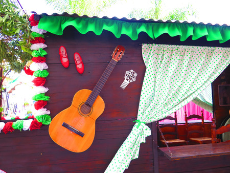 spanish guitar: Closeup of Float with Spanish Guitar at local fiesta in Alora, Andalucia Stock Photo