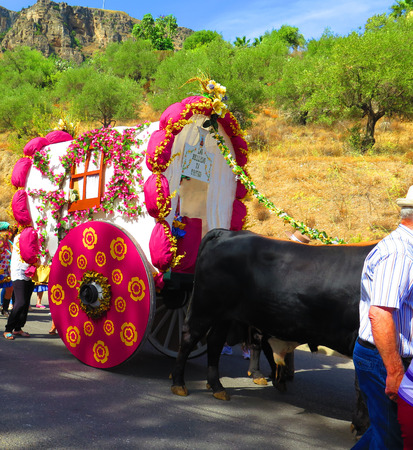 richly: Richly Flower decorated float at local fiesta in Alora, Andalucia Stock Photo
