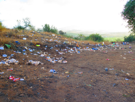 Rubbish left behind after local fiesta in Alora, Andalucia