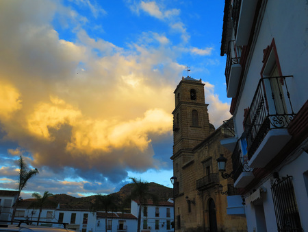parish: Alora parish church tower against moody sky, Andalucia Stock Photo
