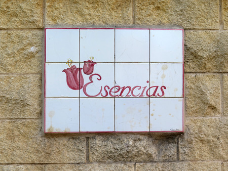andalucia: Tiled name plate at disused perfume factory near Alora, Andalucia Editorial