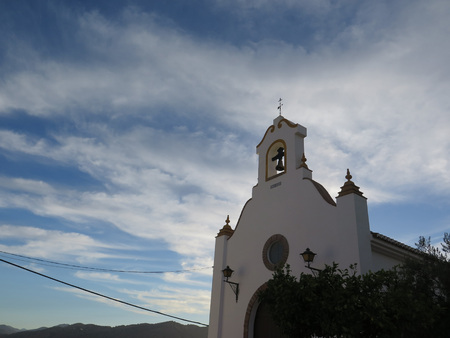 andalucia: Bellfry on Calvario Church in White Village of Alora, Andalucia