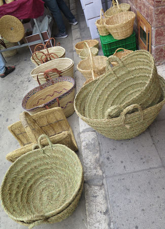 backstreet: Baskets and mats on sale in Alora backstreet, Andalucia