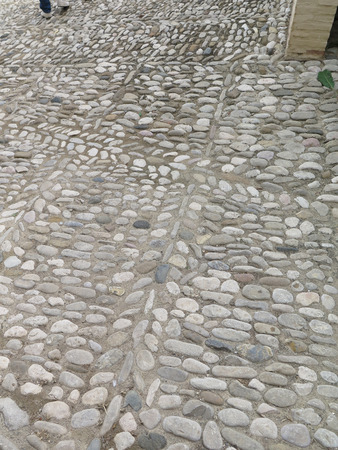 andalucia: Pebbled courtyard in ancient arabic centre of Alora village, Andalucia