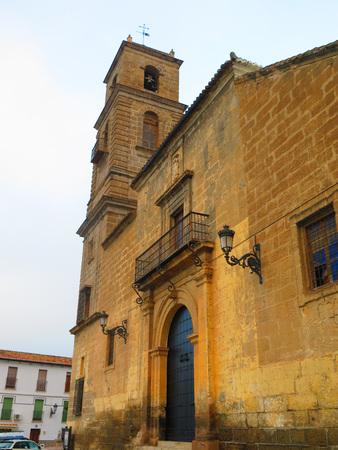 parish: Alora parish church tower against cloudy sky, Andalucia Stock Photo