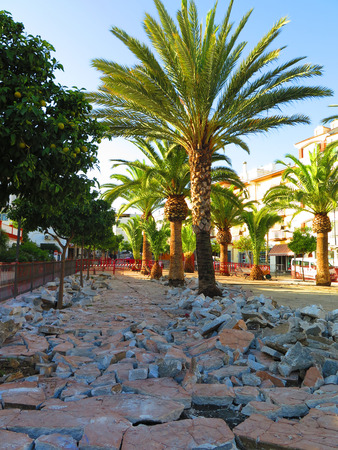 freedom fighter: Renovation work at Freedom Fighter park in Alora, Andalucia Stock Photo