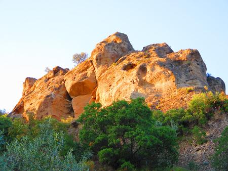 horison: Rockscape against blue sky near Alora Andalucia