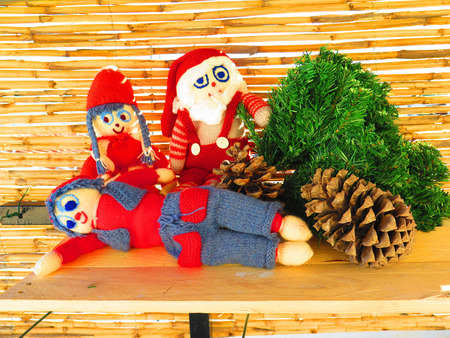 grouped: Danish knitted Christmas Dolls grouped as nativity display