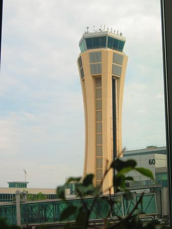 malaga: Malaga Airport Contol Tower on gray December day Editorial