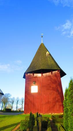 wooden clock: Broager church wooden clock tower, Denmark Stock Photo