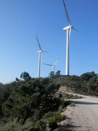 electrifying: Windmills at the wind farms on Sierra Aguas in Andalucia, Spain Stock Photo