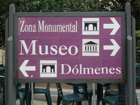 places of interest: Large Sign post in Antequera, Andalucia, Spain