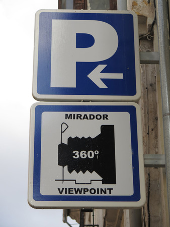 informative: Informative wallmounted Traffic signs in Antequera Stock Photo