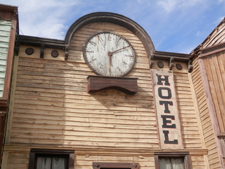 western: Wooden Hotel building in Fort Bravo Film Set, Tabernas Desert, Almeria, Spain