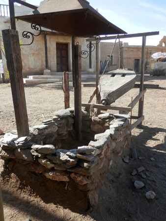 bellows: Blacksmiths furnace and bellows in Fort Bravo Film Set, Tabernas Desert, Almeria, Spain