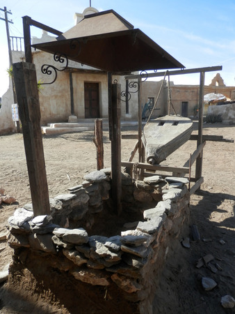 Blacksmiths furnace and bellows in Fort Bravo Film Set, Tabernas Desert, Almeria, Spain