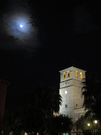 belfry: Tabernas church belfry at night in Almeria Province, Andalucia Spain Stock Photo