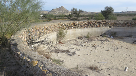 out of water: Close-up of Dried out water reservoir in tabernas desert, Almeria, Spain