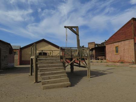 gallow: FORT BRAVO SPAIN - JANUARY 23RD. Gallow in Fort Bravo Film Set Tabernas Desert. Fort Bravo, Spain January 23rd 2016.
