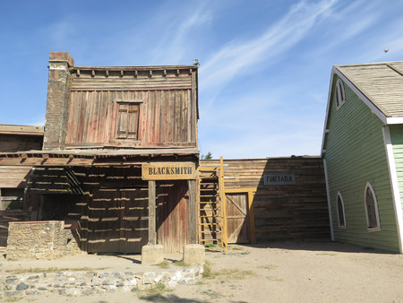 bravo: FORT BRAVO SPAIN - JANUARY 23RD. Wooden Buildings lining street in Fort Bravo Film Set Tabernas Desert. Fort Bravo, Spain January 23rd 2016.
