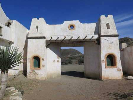 bravo: FORT BRAVO SPAIN - JANUARY 23RD. Mexican style Buildings in Fort Bravo Film Set Tabernas Desert. Fort Bravo, Spain January 23rd 2016.