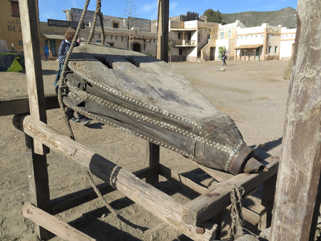 bellows: FORT BRAVO SPAIN - JANUARY 23RD. Large blacksmith bellows in Fort Bravo Film Set Tabernas Desert. Fort Bravo, Spain January 23rd 2016.