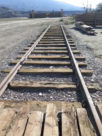 ballast: Short railway track on filmset in Fort Bravo, Tabernas desert, Spain