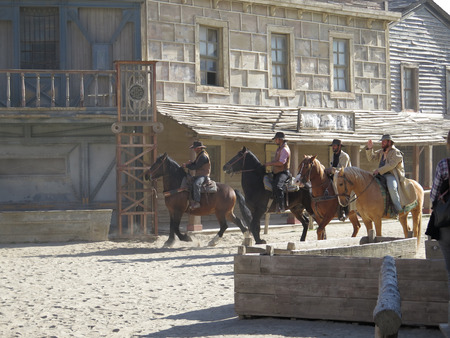 entertaiment: FORT BRAVO SPAIN - JANUARY 23RD - Four horse riders on film set near Tabernas Almeria. Fort Bravo Spain January 23rd 2016